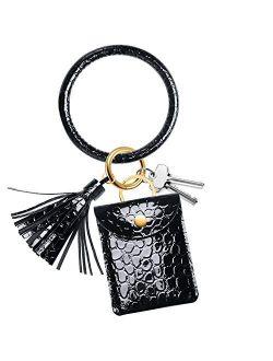 Adorve Key Chain Ring Bracelets Card Holder - Keychain Wallet Bangle Wristlet Women