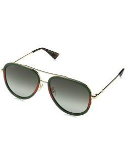 Gg0062s 003 Gold/green Gg0062s Pilot Sunglasses Lens Category 3 Size 57