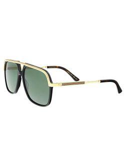 Gg0200s 001 Black/gold Gg0200s Square Pilot Sunglasses Lens Category 3, 57-14-145
