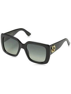 Gg0141s 001 Black Gg0141s Square Sunglasses Lens Category 2 Size 53mm