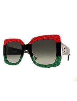 Gg0083 Glitter Red Black Glitter Emerald/grey Gradient One Size, 55-24-140