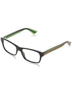 Gg 0006o 006 Black/green Plastic Rectangle Eyeglasses 55mm