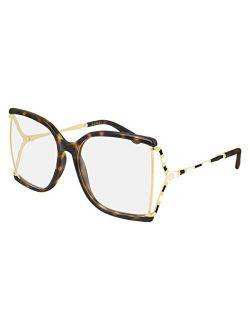 Gg 0592o 002 Havana Plastic Butterfly Eyeglasses 60mm