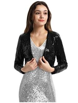 Belle Poque Women's Sequin Jacket Long Sleeve Open Front Glitter Cropped Blazer Bolero Shrug S-XXL