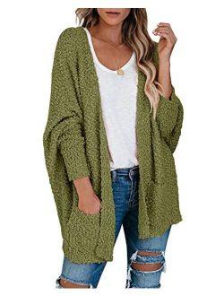 Ybenlow Womens Open Front Fuzzy Cardigan Sweaters Batwing Sleeve Lightweight Popcorn Loose Knit Sweater Cloak Tops