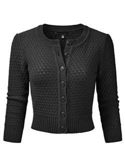 EIMIN Women's Crewneck Button Down 3/4 Sleeve Cropped Cardigan Sweater (S-3XL)