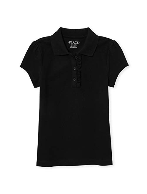 The Children's Place Girls' Uniform Ruffle Pique Polo