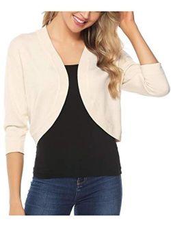 Women Open Front Cardigan 3/4 Sleeve Cropped Bolero Shrug Cardigan Sweater