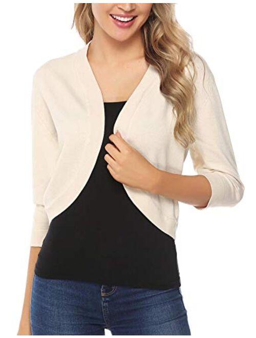 iClosam Women Open Front Cardigan 3/4 Sleeve Cropped Bolero Shrug Cardigan Sweater