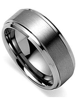 King Will Basic Men's Tungsten Carbide Ring 6mm/7mm/8mm Polished Beveled Edge Matte Brushed Finish Center Wedding Band
