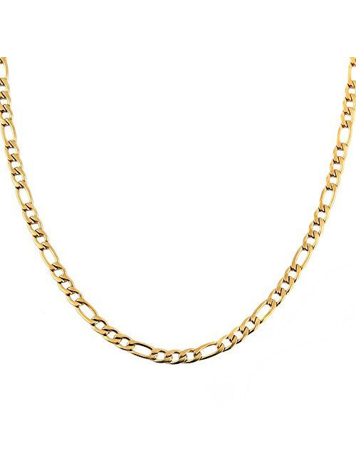 HZMAN Men Women 24k Real Gold Plated Figaro Chain Stainless Steel Necklace, Wide 5mm 7mm 9mm 13mm