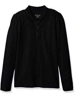 Girls' Uniform Long Sleeve Ruffle Pique Polo