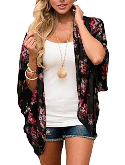 casuress Women's Cardigan-Sheer Kimono Loose Summer Floral Print Cover Ups