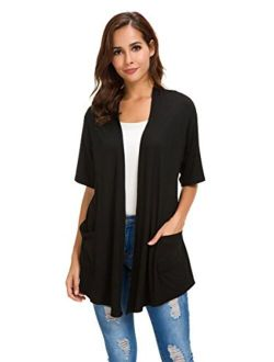 Womens Short Sleeve Open Front Lightweight Casual Comfy Long Line Drape Hem Soft Modal Cardigans Sweater with Two Pockets