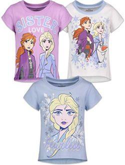 Frozen Girls 3 Pack Short Sleeve T-shirts