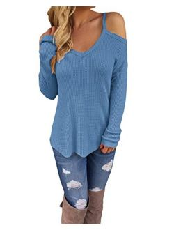 STYLEWORD Women's Off Shoulder Loose Casual Knitted Pullover Sweater Shirts Tunic Top Blouse