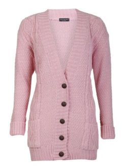 Women's Cable Knitted Grandad Button Cardigan