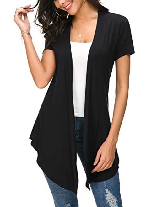 Urban CoCo Womens Solid Open Front Short Sleeve Cardigan