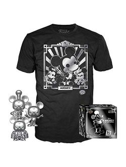 Pop! 3 Pack & Tee: Disney - Mickey's 90th T-shirt & Silver Steamboat Willie, Conductor, & Apprentice, Size Medium, Multicolor