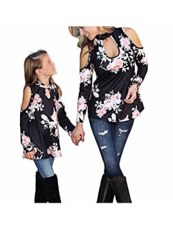 Mommy & Me Floral Cold Off Shoulder Choker Long Sleeve Top Tshirt