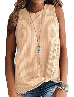 SAMPEEL Womens Summer Sleeveless Waffle Knit Twist Knot Tank Tops Loose Fitted T-Shirts