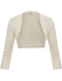 Women's 3/4 Sleeve Open Front Scalloped Knit Cropped Bolero Shrug