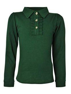 Ipuang Girl Long Sleeve Cotton Ruffle Polo Shirt Top