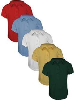 Basics 5-pack Girls' Short Sleeve Pique Polo Shirts/school Uniform Polo Shirts