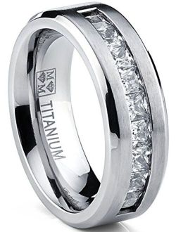Metal Masters Co. Titanium Men's Wedding Band Engagement Ring with 9 Large Princess Cut Cubic Zirconia