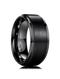 King Will Duo 8mm/10mm Mens Brushed Tungsten Carbide Wedding Band Ring Polish Finished Comfort Fit Black/Silver/Blue/Rose Gold