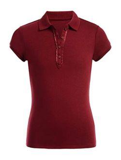 Girls' School Uniform Short Sleeve Polo With Ruffle Placket