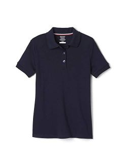 French Toast Girls' Short Sleeve Interlock Polo with Picot Collar (Standard & Plus)