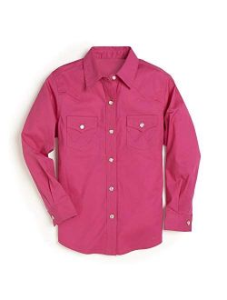 Girls Long Sleeve Two Flap Pockets Snap Front Shirt