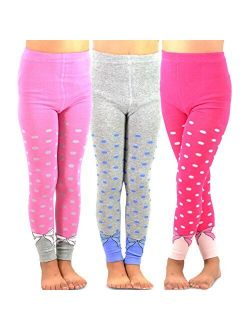 TeeHee Kids Girls Fashion Cotton Leggings (Footless Tights) / Girls Fleece Inner Brushed Leggings 3 Pack