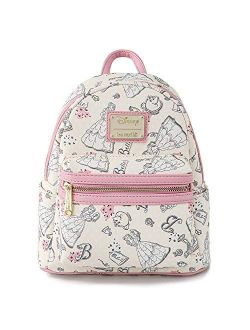 Disney Beauty And The Beast Belle All Over Print Womens Double Strap Shoulder Bag Purse