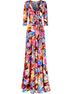 Bon Rosy Women's #madeinUSA 3/4 Sleeve Mock Wrap Mother's Day Baby Wedding Shower Floral Maxi Dress