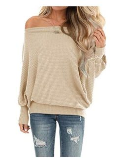 LACOZY Womens Waffle Knit Off The Shoulder Tops Oversized Long Sleeve Tunic Shirts Pullover Sweaters