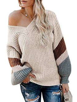 FAFOFA Women's V Neck Long Sleeve Striped Knitted Chunky Pullover Sweater