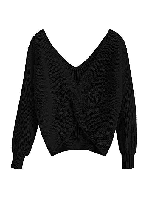 ZAFUL Womens V-Neck Criss Cross Twisted Back Pullover Knitted Sweater Jumper