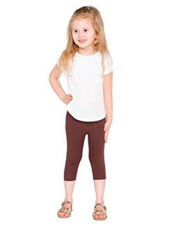 hi!mom Girls Cropped Cotton Leggings Basic Plain Kids Capri Pants Age 2-13