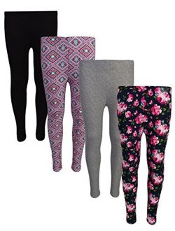 dELiAs 4 Pack Girls Basic Yummy Active Leggings (Solids & Prints)