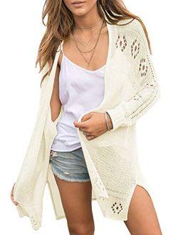 Misassy Womens Open Front Knit Sheer Cardigans Summer Boho Lightweight Long Sleeve Kimono Long Sweater