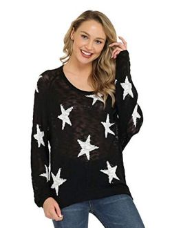 Pink Queen Womens Loose Star Sweater Long Batwing Sleeve V Neck Knitted Pullover Tops