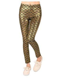 Loxdonz Kids Baby Girls Mermaid Fish Scale Stretch Long Leggings Tight Pants