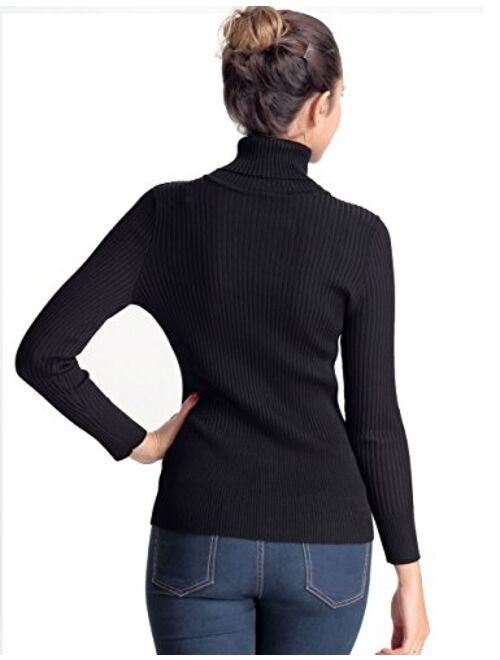 PrettyGuide Women's Ribbed Turtleneck Long Sleeve Sweater Tops