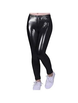 Fitcat Kids Toddler Girls Faux Leather Pants Shiny Strech Leggings Tights