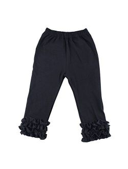 Wennikids Toddler Little Baby Girls Cotton Ruffle Pants Leggings