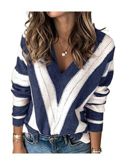 Womens Fashion Long Sleeve Striped Color Block Knitted Sweater Crew Neck Loose Pullover Jumper Tops