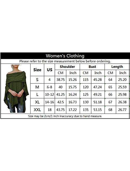kenoce Womens Off Shoulder Blouse Irregular Hem Soft Knitted Poncho Sweater Pullovers Tunic Top