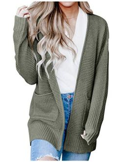 Womens Long Sleeve Waffle Knit Cardigan Open Front Side Slit Sweater With Pockets
